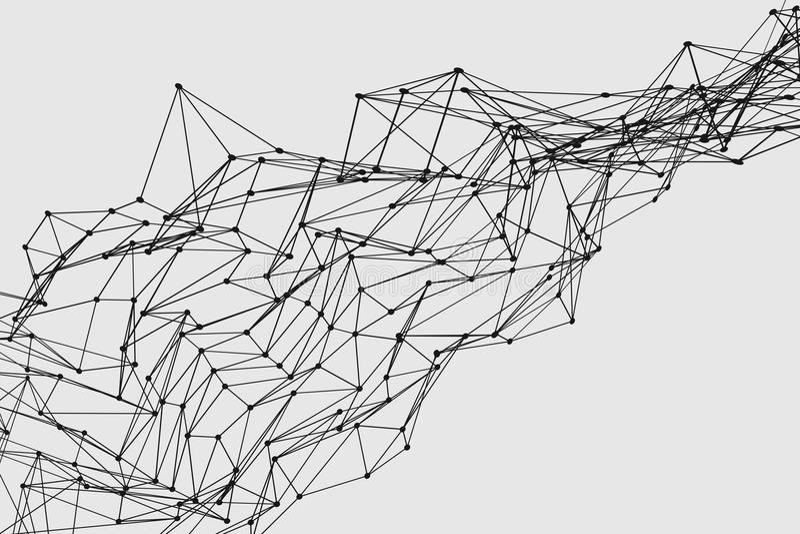 Structure de réseau tridimensionnelle abstraite de wireframe de polygone illustration de vecteur