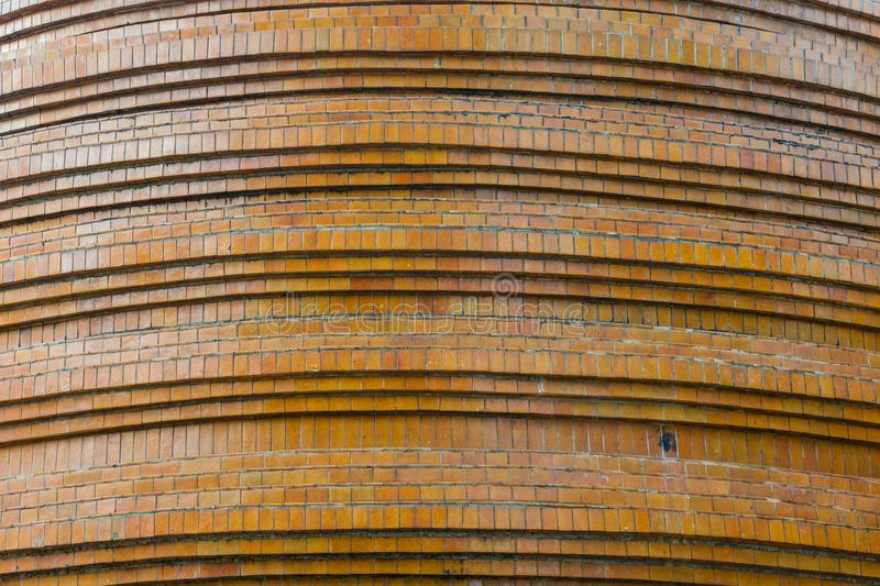 Structure detail of pagoda base, brown tiled mosaic,  Buddhist temple royalty free stock photo