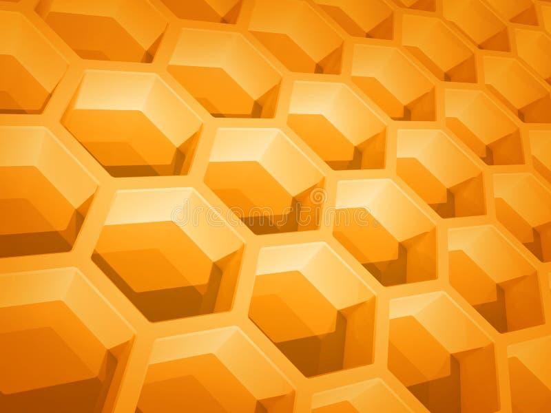 Structure en nid d'abeilles jaune abstraite illustration de vecteur