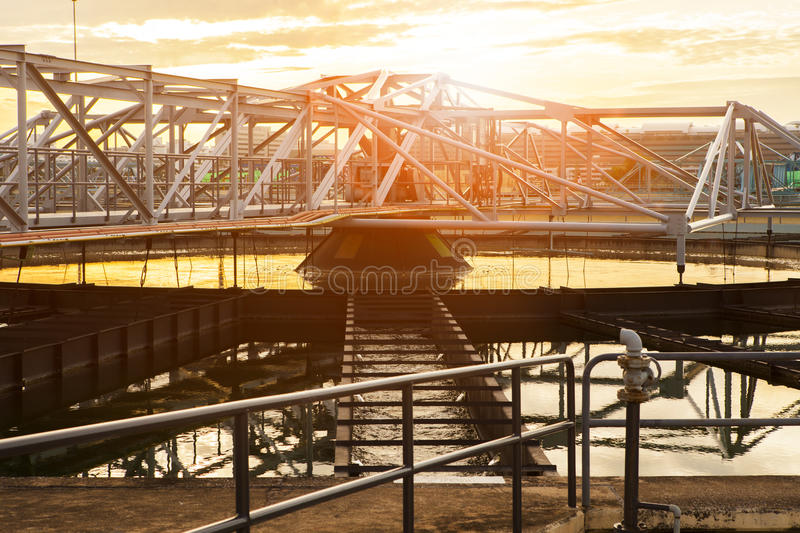 Structure frame of water works in heavy industry estate plant ag. Aisnt beautiful sunset sky light stock images