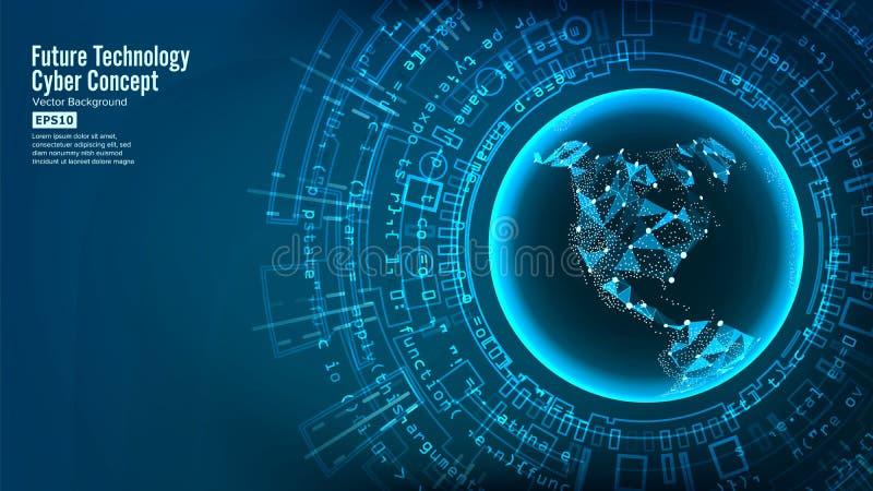 Structure futuriste de connexion de technologie Fond abstrait de vecteur Futur concept de Cyber Conception de système de Digital illustration libre de droits