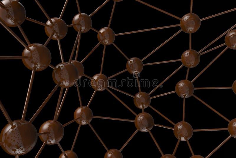 structure géométrique moléculaire d'abrégé sur chaos de chocolat brun Renderin de pointe du fond 3d de connexion réseau de techno images libres de droits