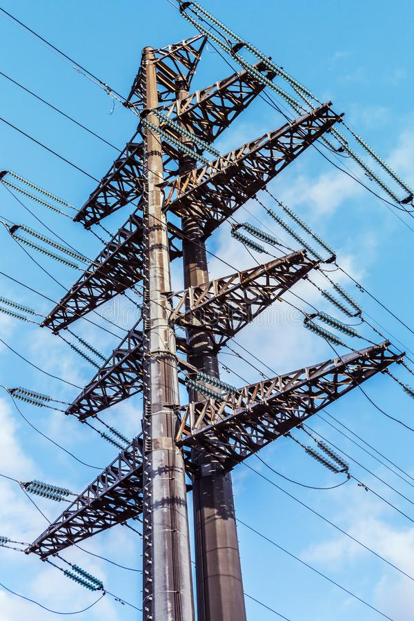 Structure of the high-voltage electrical metal supports royalty free stock photos