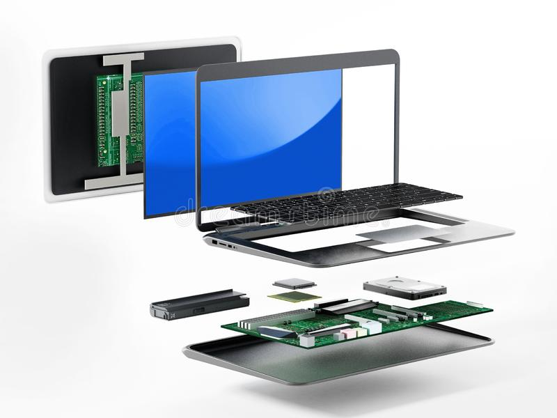 Structure of laptop computer showing spare parts. 3D illustration.  stock illustration
