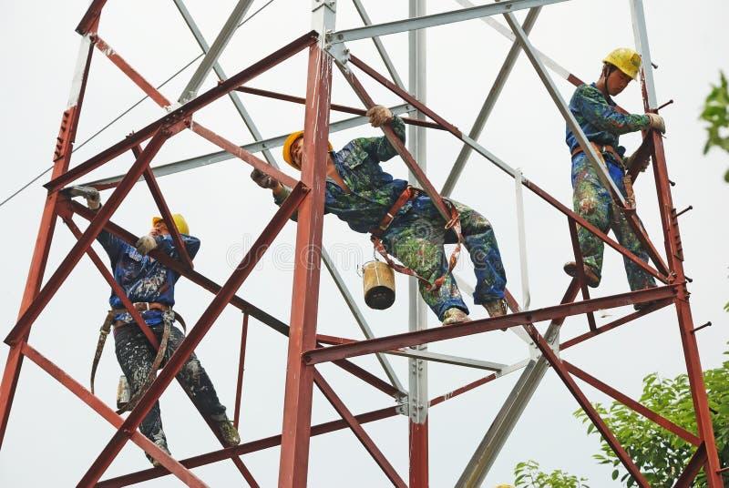 Structure métallique de peinture de travailleur chinois images libres de droits