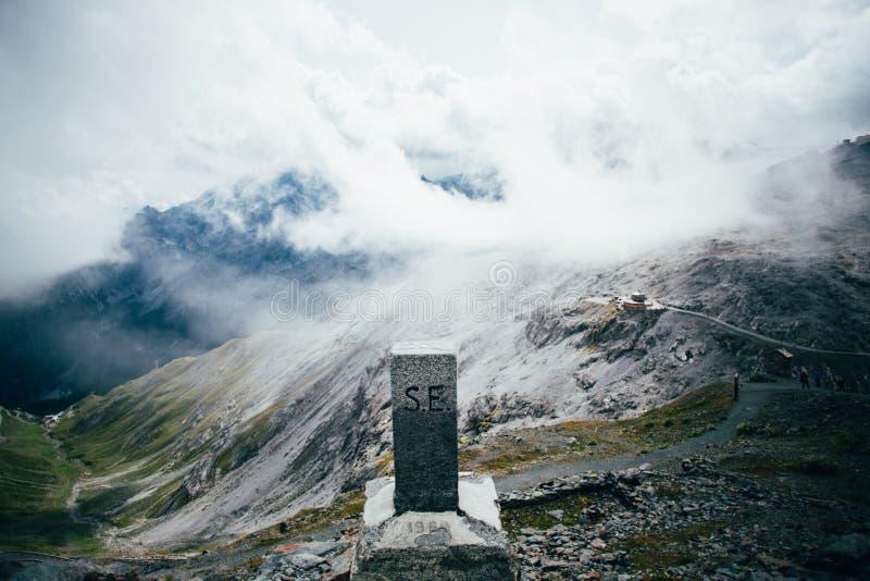 Milestone on top of passo di stelvio, italy stock photo