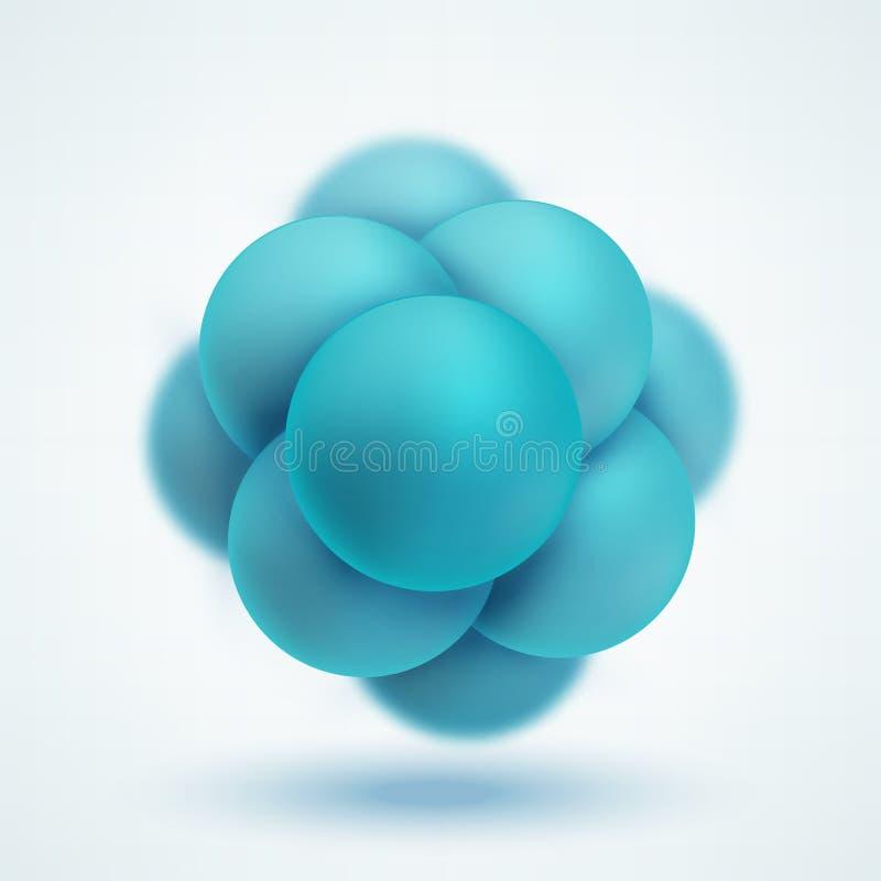 Structure moléculaire abstraite Groupe d'atomes formant la molécule illustration de vecteur