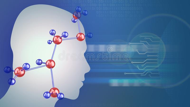 structure moléculaire 3d illustration stock
