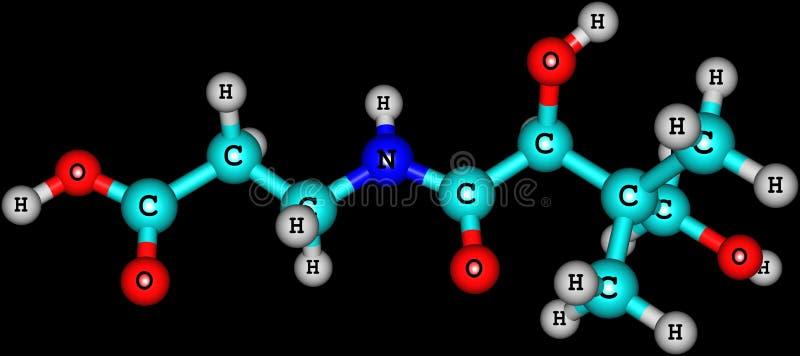 Structure moléculaire d'acide pantothénique (vitamine B5) sur le fond noir illustration stock