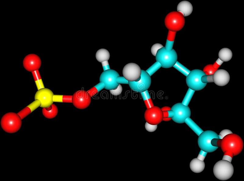 Structure moléculaire de fructose sur le fond noir illustration stock