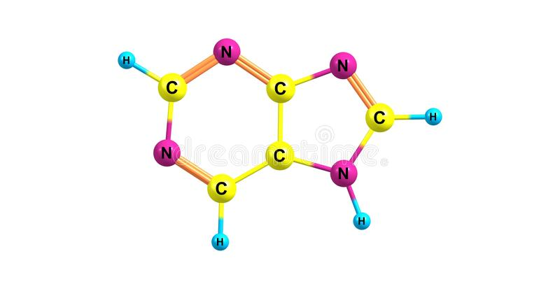 Structure moléculaire de purine d'isolement sur le blanc illustration stock
