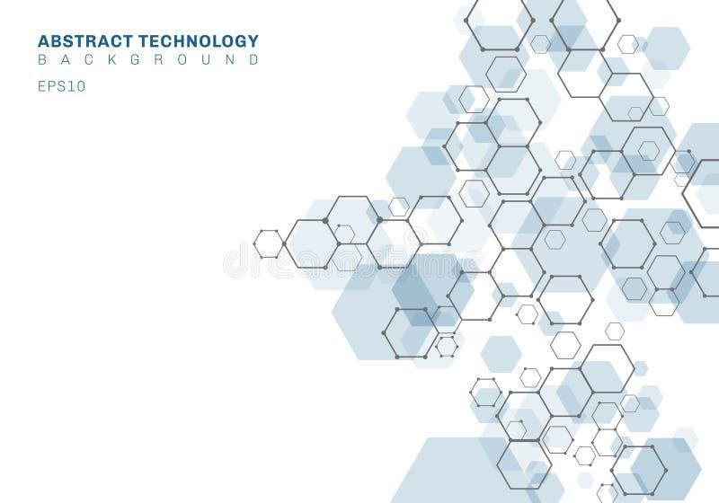 Structure moléculaire hexagonale bleue de résumé de système de neurones Fond de technologie num?rique Futur calibre g?om?trique illustration libre de droits