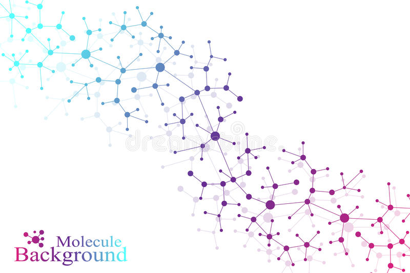 Structure molecule atom dna and communication background. Concept of neurons. Connected lines with dots. Illusion royalty free illustration