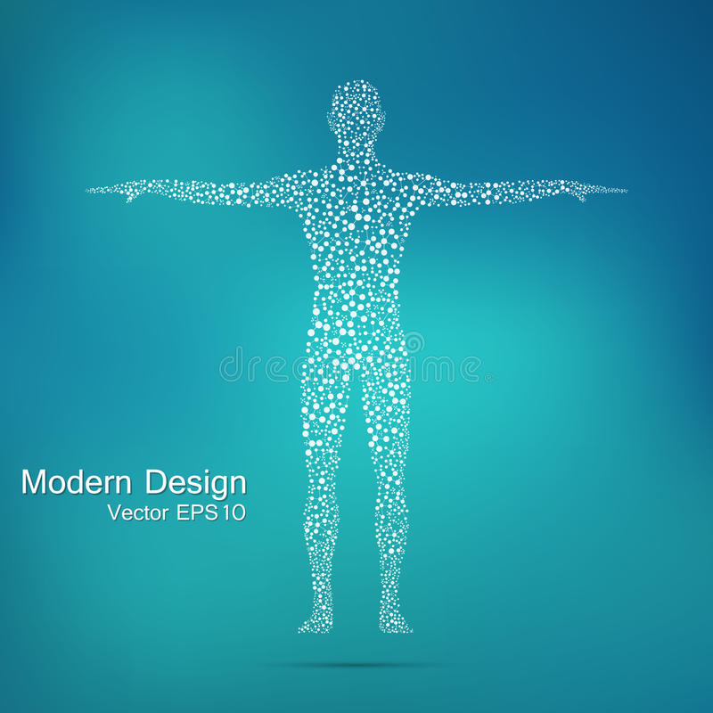 Structure molecule of man. Abstract model human body DNA . Medicine, science and technology. stock illustration