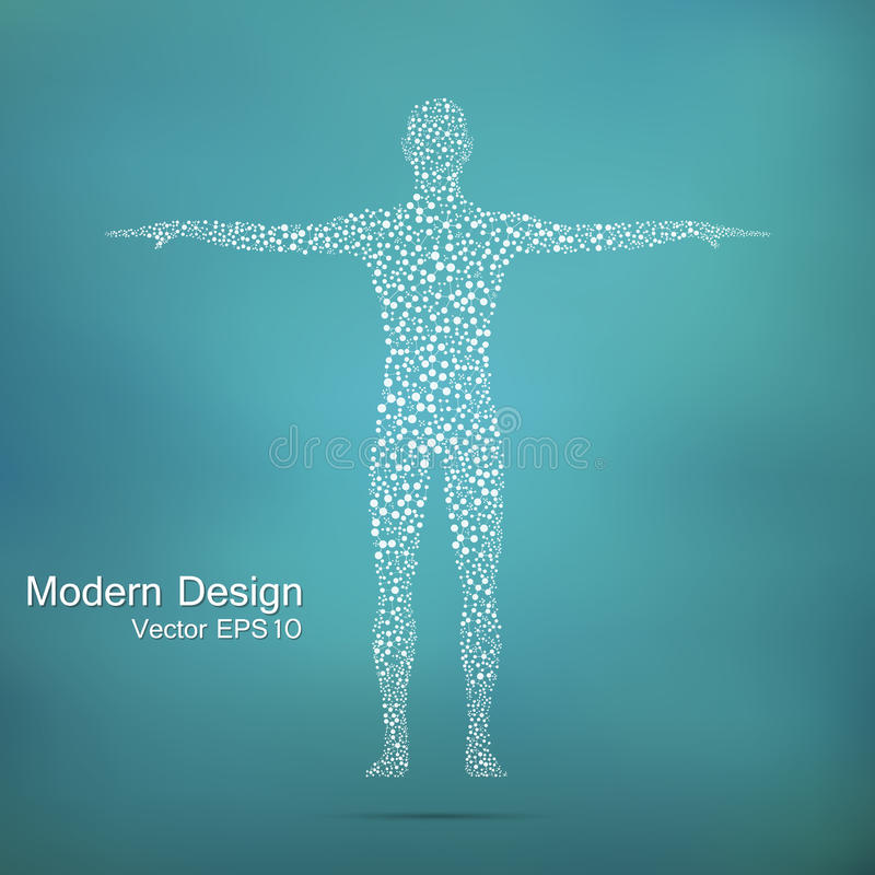 Structure molecule of man. Abstract model human body DNA . Medicine, science and technology. Scientific Vector for your royalty free illustration