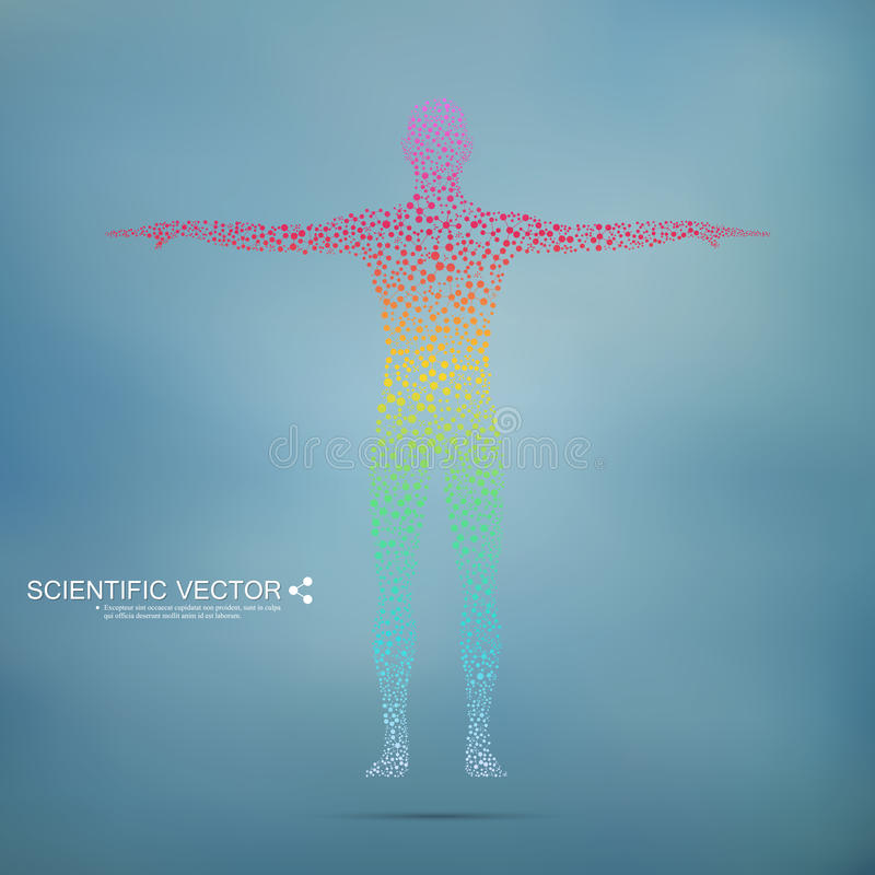 Structure molecule of man. Abstract model human body DNA . Medicine, science and technology. Scientific Vector for your stock illustration