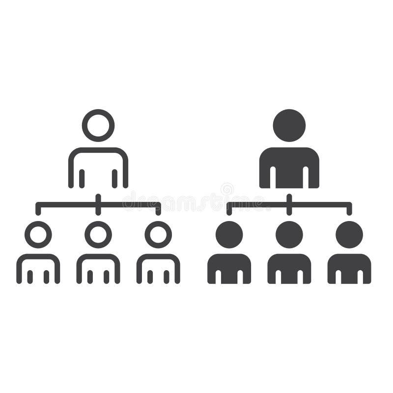 Structure organisationnelle de la ligne de société et de l'icône solide, contour et pictogramme de signe de vecteur, linéaire et  illustration libre de droits