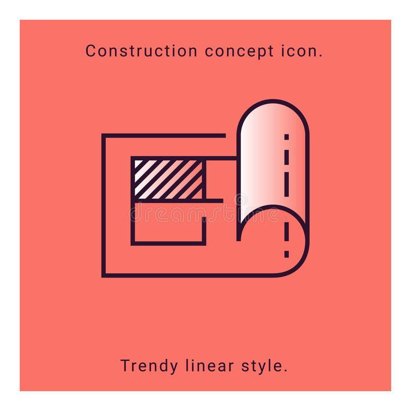 Structure paper icon. Engineering concept education. Construction plan symbol in vector line style. stock illustration