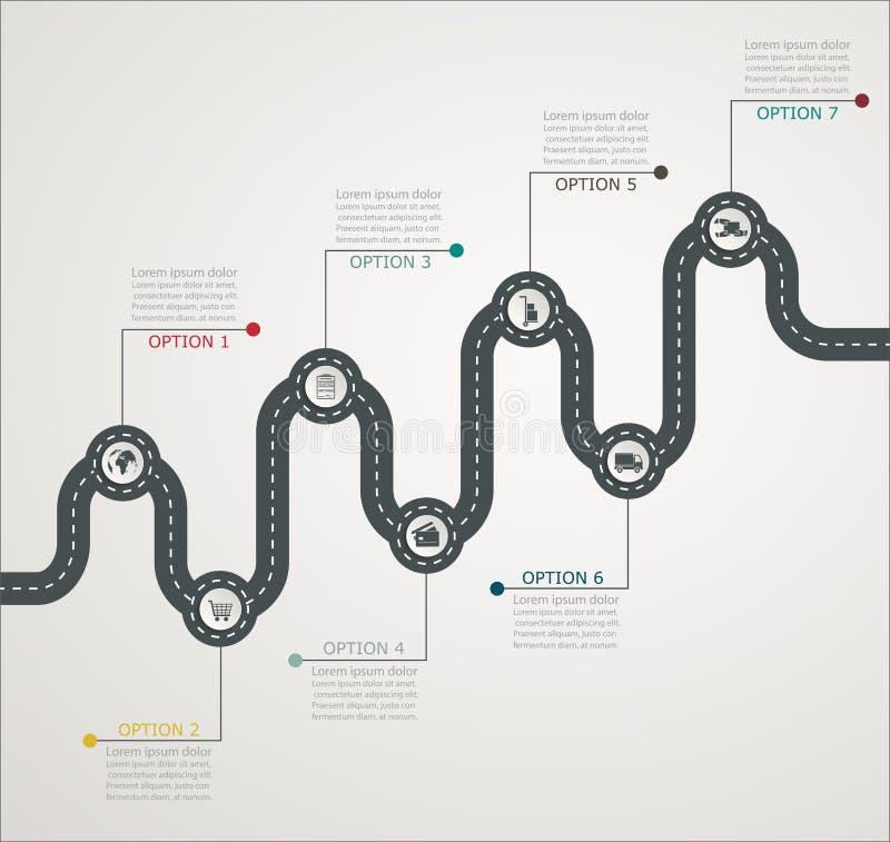 Structure par étapes de chronologie infographic de route avec des icônes illustration libre de droits