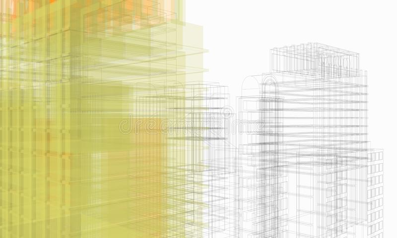 Structure in perspective of architectural work of draw in white soft environment stock image