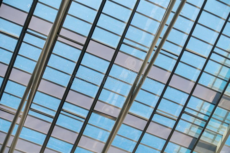 Structure steel roofing and modern architectural facade, Abstract background stock photography