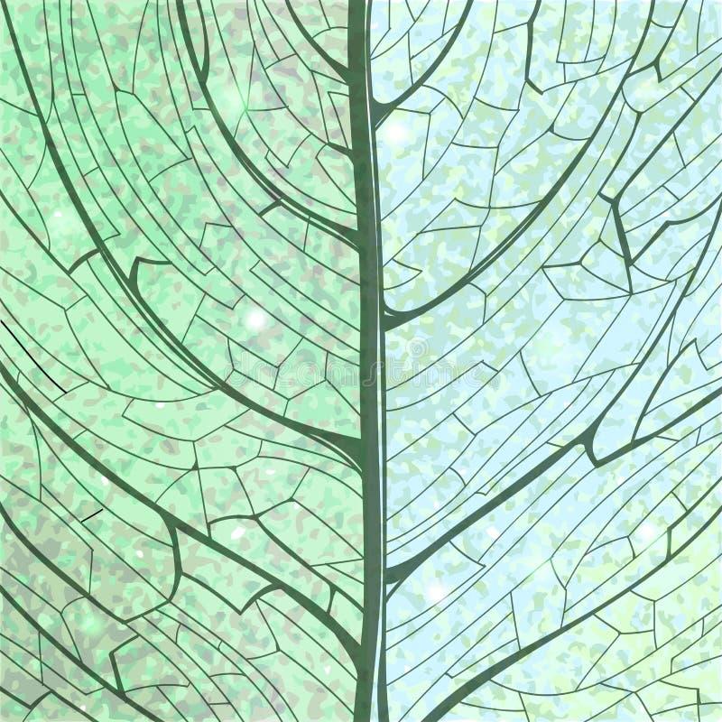 Structure verte tirée par la main de feuille de fond illustration stock