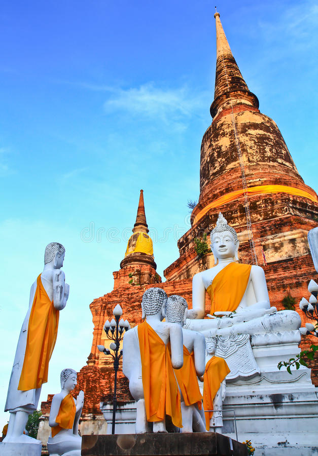 White buddha statues and ancient pagoda. Structure at Wat Yaichaimongkol in Ayutthaya province of Thailand stock photos