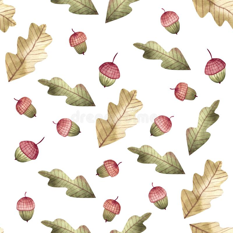 Structure of watercolor autumn oak leaves and acorns. Each of them is separate. Each leaf is separated. royalty free illustration