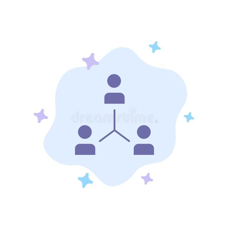 Structuur, Bedrijf, Samenwerking, Groep, Hiërarchie, Mensen, Team Blue Icon op Abstracte Wolkenachtergrond royalty-vrije illustratie