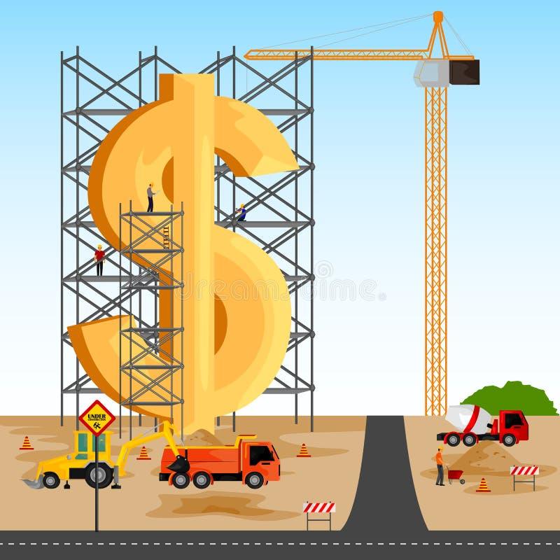Structuur de bouw van Dollar stock illustratie