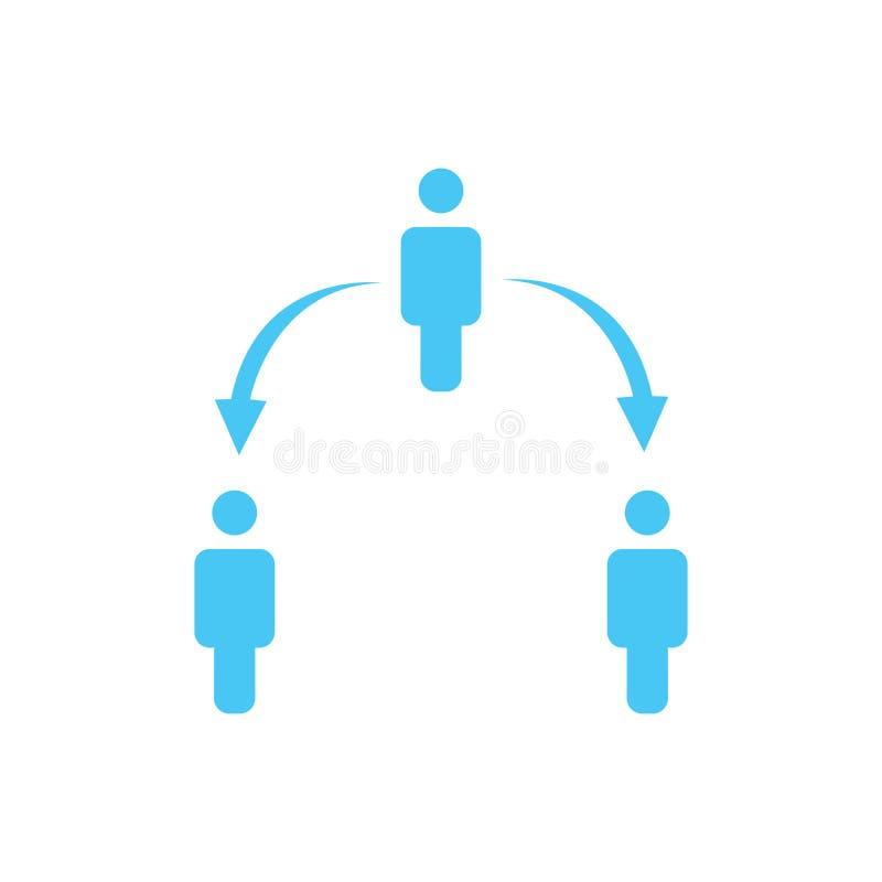 structuur van bedrijfpictogram, drie mensen, bedrijfsrapportconcept hiërarchie op twee niveaus met pijlen neer en omhoog Vector i royalty-vrije illustratie