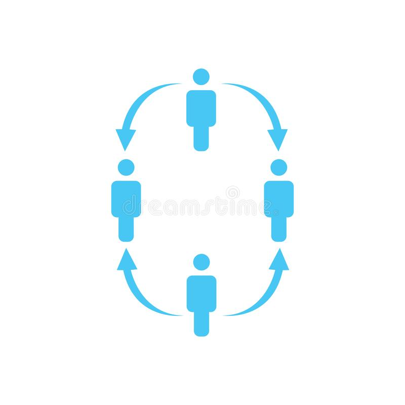 structuur van bedrijfpictogram, vier mensen, bedrijfsrapportconcept de hiërarchie van het teamwerk met pijlen neer en omhoog Vect vector illustratie