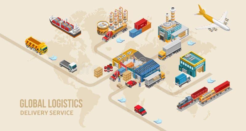 Structuur van de dienst van de landlevering op wereldkaart royalty-vrije illustratie