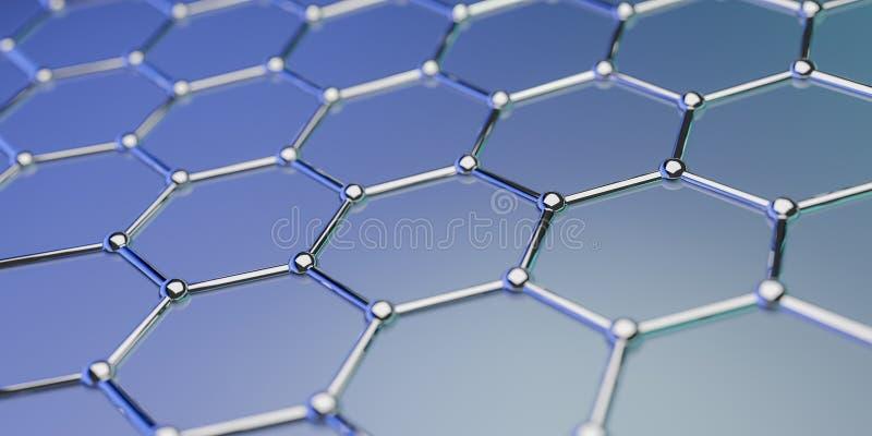 Structuur van de Graphene de moleculaire nano technologie op een blauwe achtergrond - het 3d teruggeven royalty-vrije illustratie