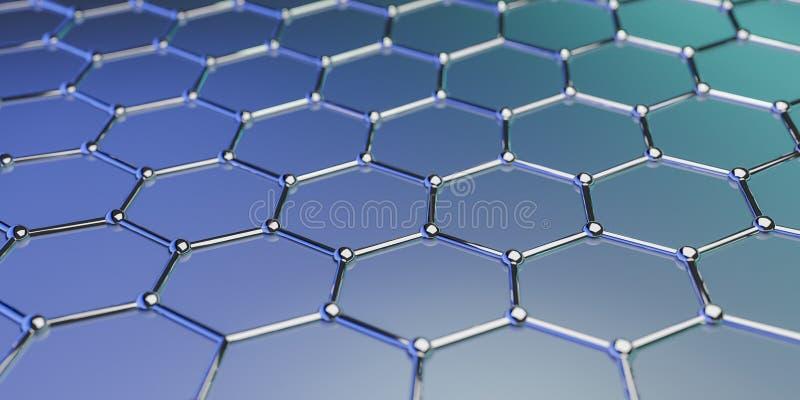 Structuur van de Graphene de moleculaire nano technologie op een blauwe achtergrond - het 3d teruggeven vector illustratie