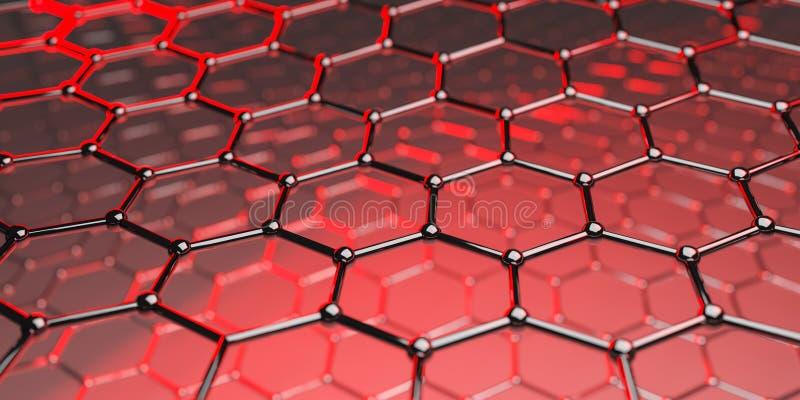 Structuur van de Graphene de moleculaire nano technologie op een rode achtergrond - het 3d teruggeven royalty-vrije illustratie