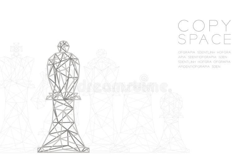 Structuur van het de Veelhoek de zilveren kader van de schaakbischop wireframe, de illustratie van het Bedrijfsstrategieconcepton vector illustratie