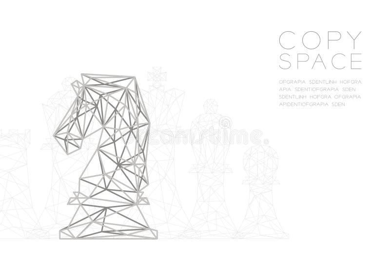 Structuur van het de Veelhoek de zilveren kader van de schaakridder wireframe, de illustratie van het Bedrijfsstrategieconceptont royalty-vrije illustratie