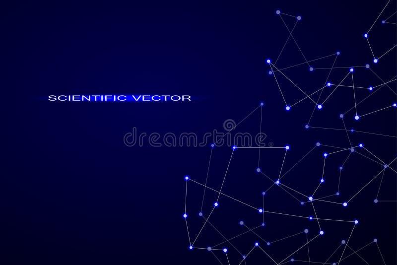 Structuur van moleculaire deeltjes en atoom veelhoekige abstracte achtergrondtechnologie en wetenschapsconceptenvector royalty-vrije illustratie
