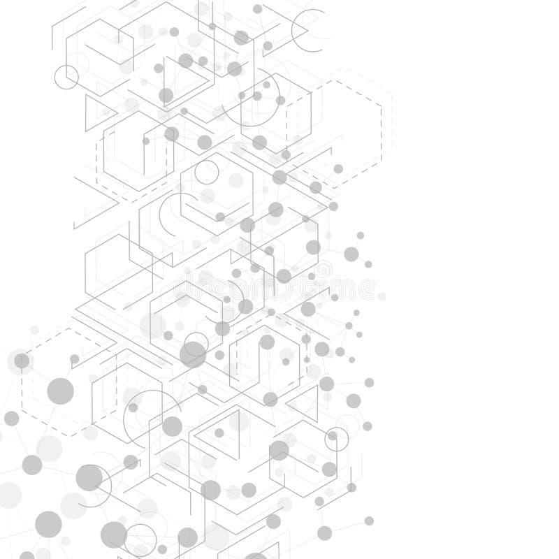 Structuurmolecule en mededeling DNA, atoom, neuronen Abstracte veelhoekige structuur met het verbinden van punten en lijnen royalty-vrije illustratie