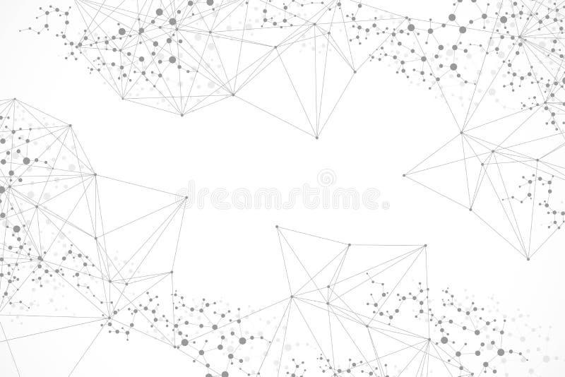Structuurmolecule en mededeling DNA, atoom, neuronen Wetenschappelijk concept voor uw ontwerp Verbonden lijnen met punten royalty-vrije illustratie