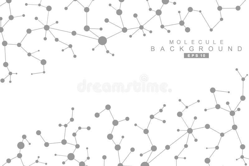 Structuurmolecule en mededeling DNA, atoom, neuronen Wetenschappelijk concept voor uw ontwerp Verbonden lijnen met punten stock illustratie