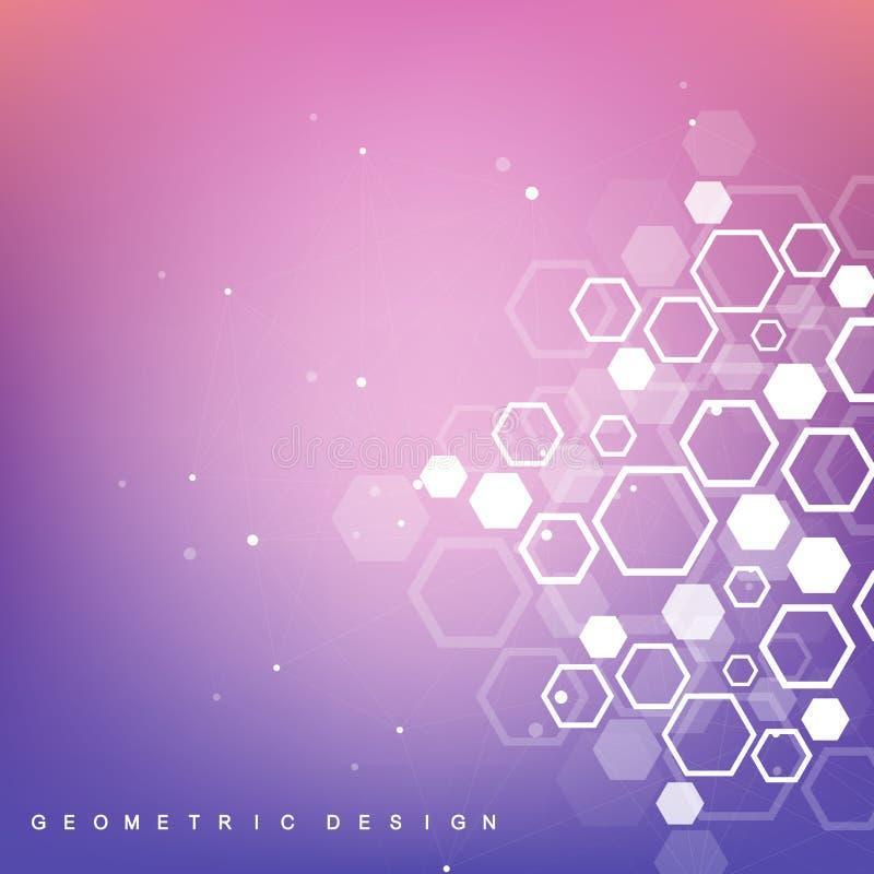 Structuurmolecule en mededeling DNA, atoom, neuronen Wetenschappelijke moleculeachtergrond voor geneeskunde, wetenschap stock illustratie