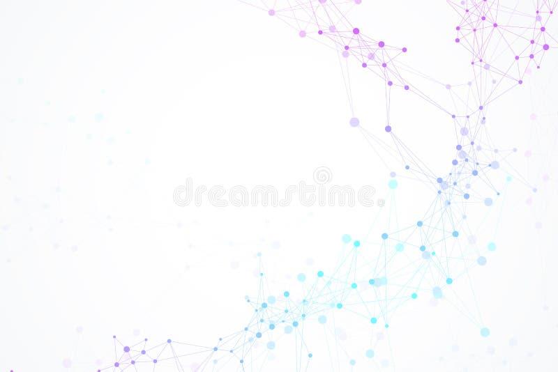 Structuurmolecule en mededeling DNA, atoom, neuronen Wetenschappelijke moleculeachtergrond voor geneeskunde, wetenschap vector illustratie