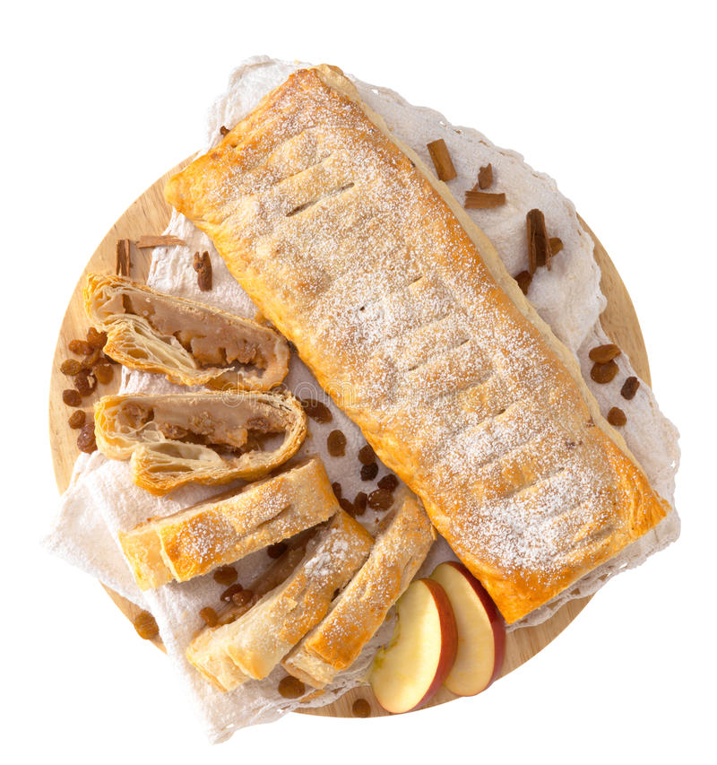 Strudel. Typical strudel with fruit in a white backgound stock photos