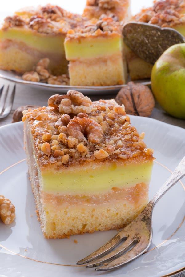 Strudel alle mele con il budino ed i dadi di vaniglia fotografie stock