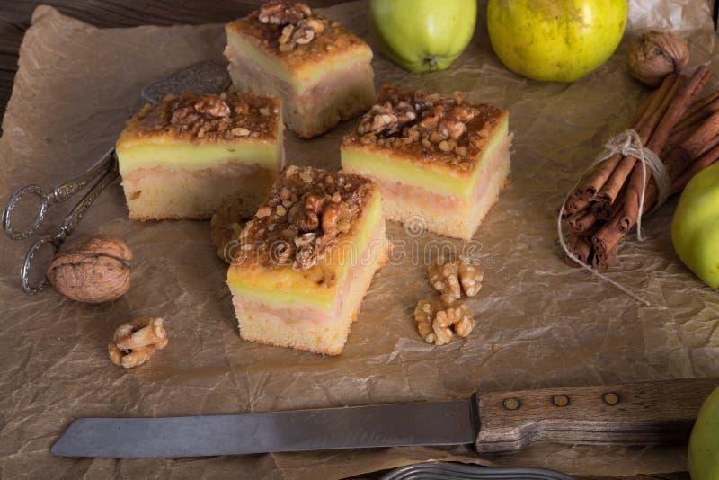 Strudel alle mele con il budino ed i dadi di vaniglia fotografia stock libera da diritti