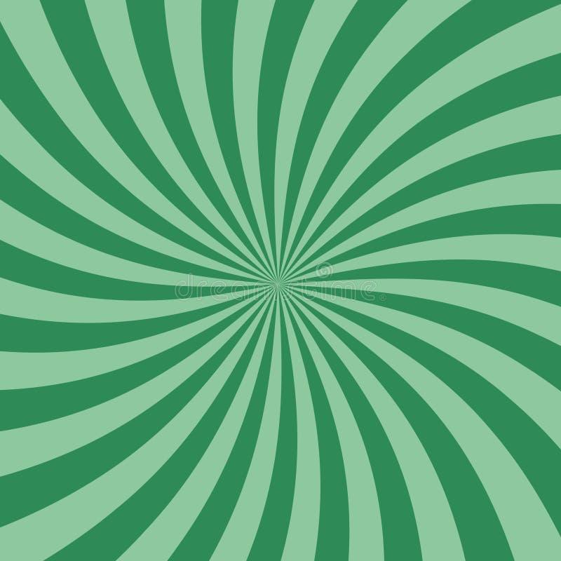 Strudel-Retro- Sonnendurchbruch-grüner gewundener flacher Entwurfs-Hintergrund stock abbildung