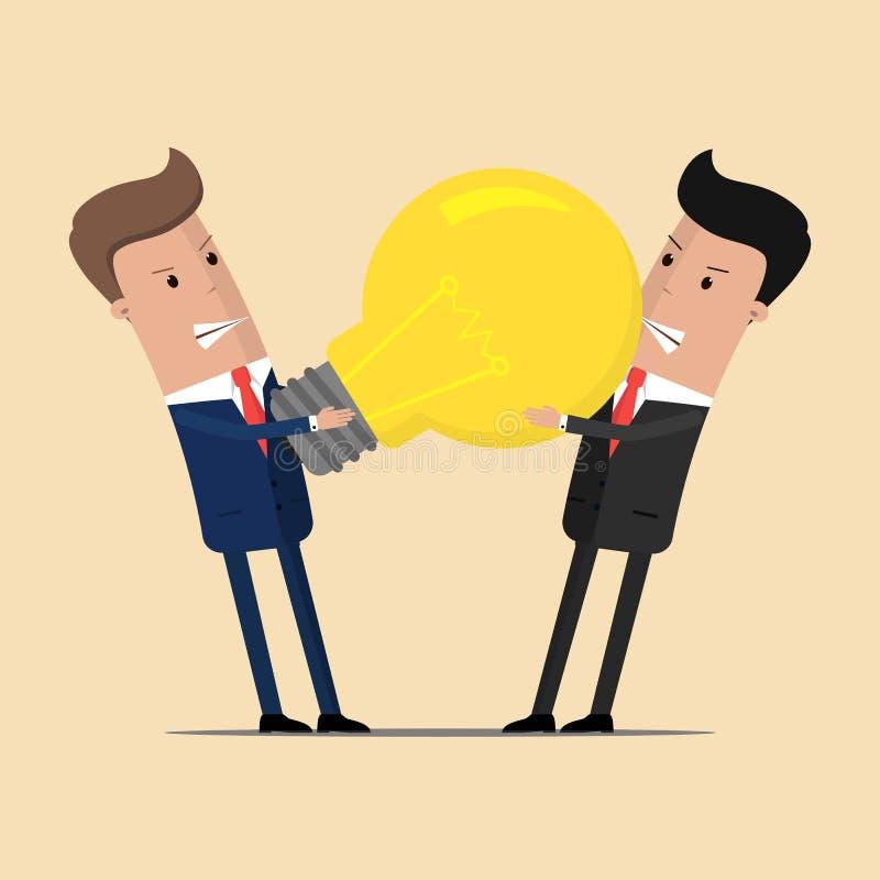 Struggle between businessmen for a big lightbulb. Big idea. Vector illustration.  vector illustration
