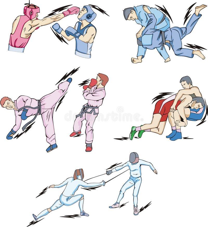 Struggle and Fighting Sports royalty free illustration